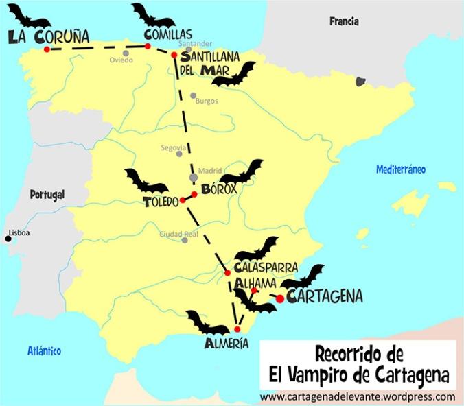 Recorrido del vampiro de Cartagena