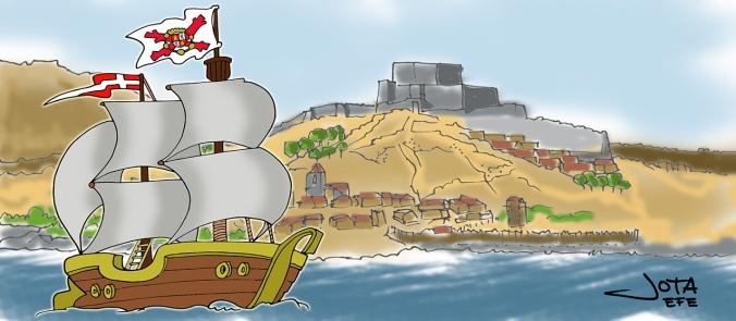 Ondeando la bandera corsaria de Castilla.