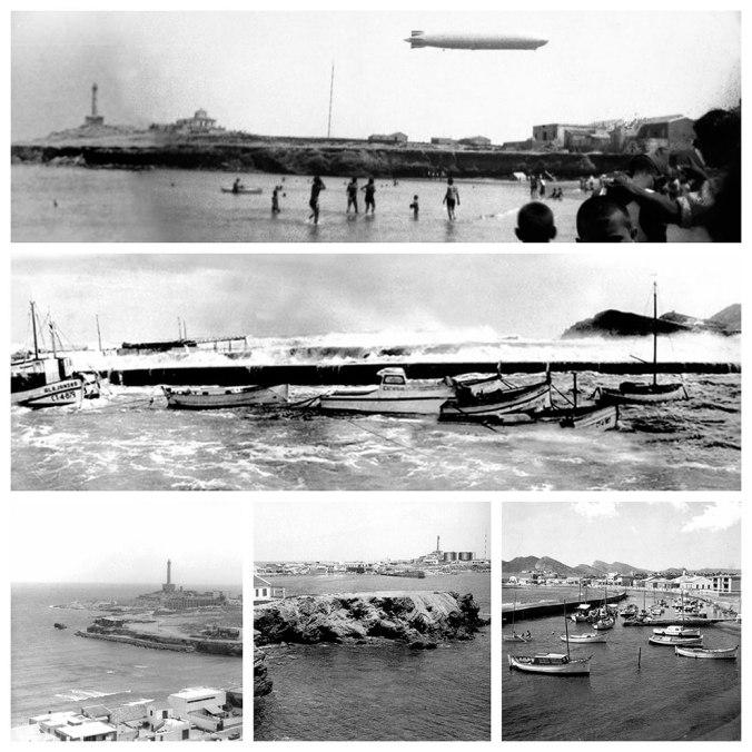 Dirigible sobre Cabo de Palos - Temporal en el puerto - El faro - El viejo puerto refugio