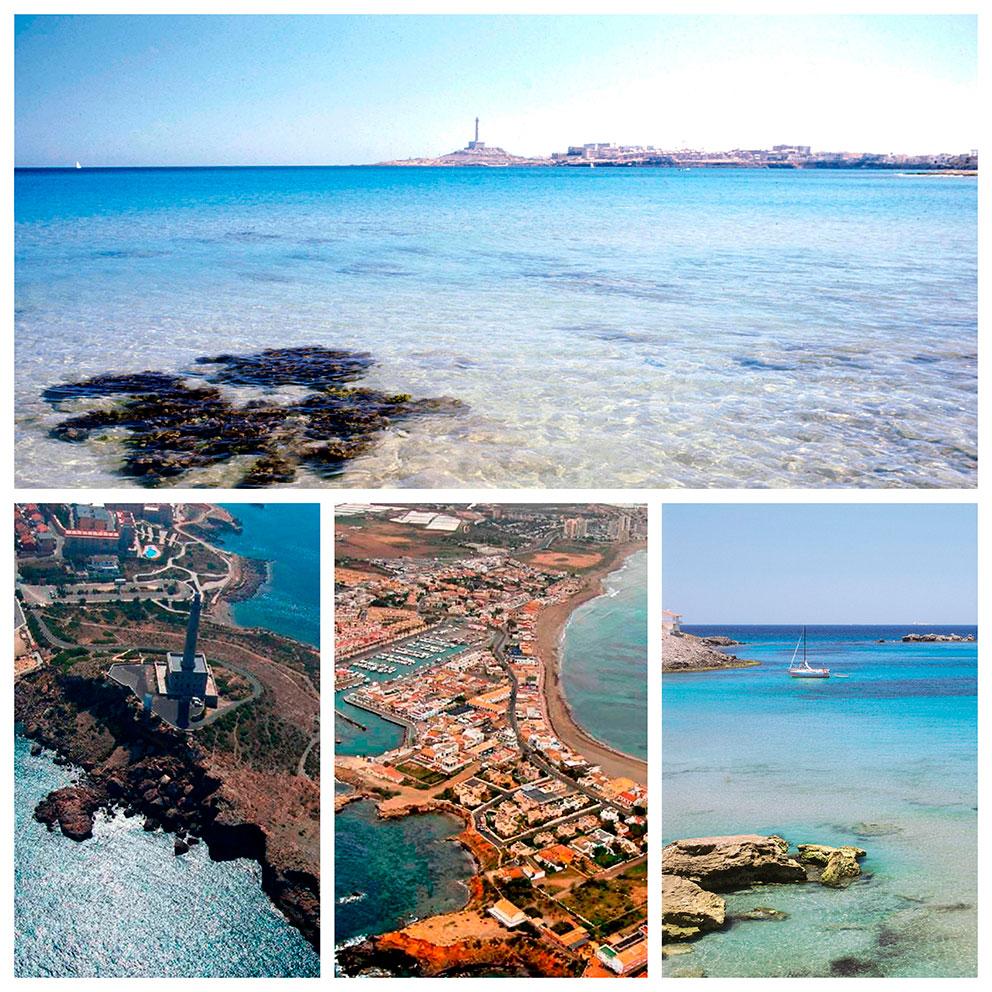 Desde La Manga - Faro desde el aire - Puerto moderno - Playas de Palos