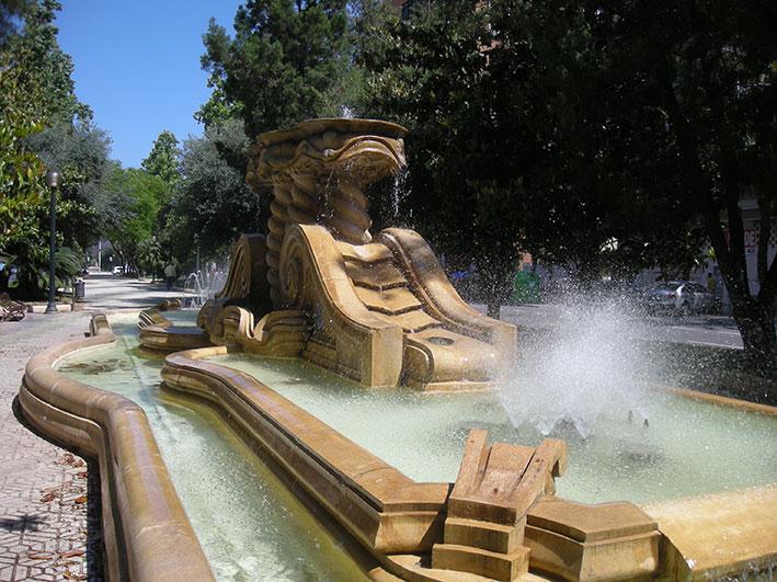 La fuente central de la Alameda en tiempos actuales.
