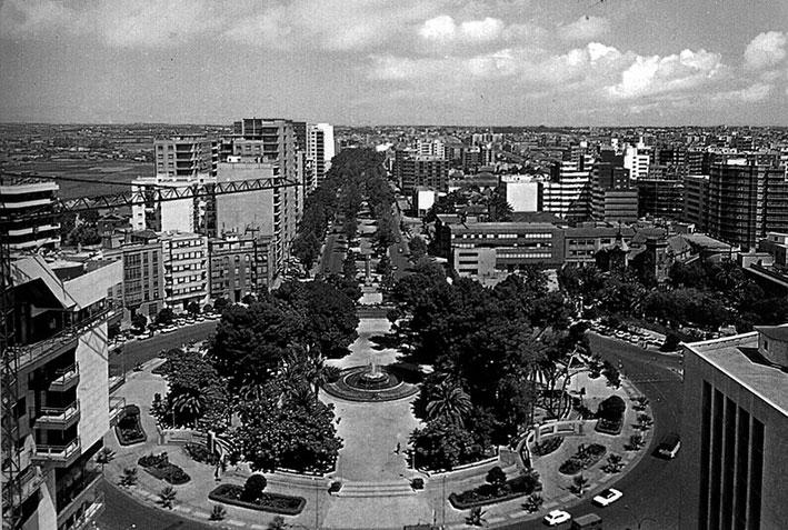 Antigua vista de la Alameda desde la Plaza de España